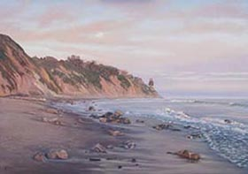Santa Barbaras East Beach at Sunset